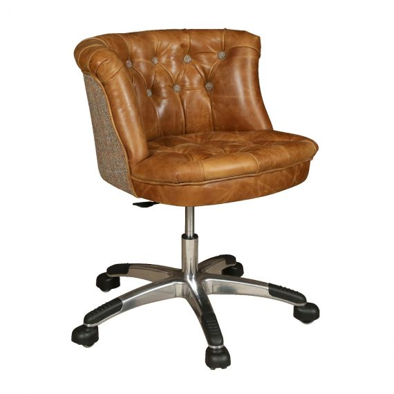 Austin Buttoned Office Chair - Brown Leather & Harris Tweed