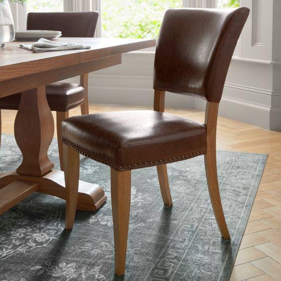 Belgrave Rustic Oak Dining Chair - Espresso Leather (Pair)