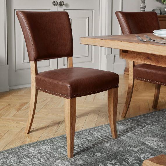 Belgrave Rustic Oak Dining Chair - Tan Leather (Pair)