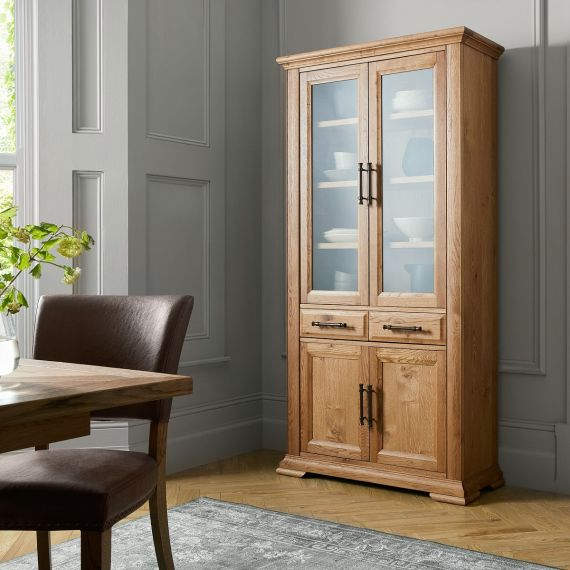 Belgrave Rustic Oak Display Cabinet