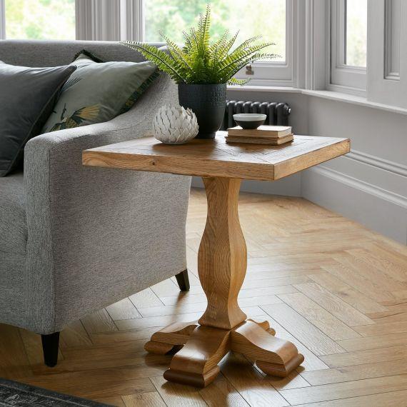 Belgrave Rustic Oak Lamp Table