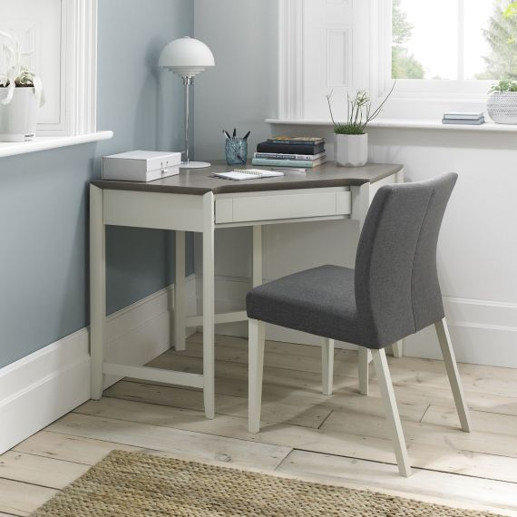 Bergen Grey Washed Oak & Soft Grey Corner Desk