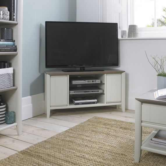 Bergen Grey Washed Oak & Soft Grey Corner TV Unit