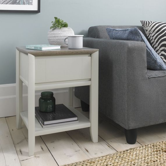 Bergen Grey Washed Oak & Soft Grey Lamp Table with Drawer