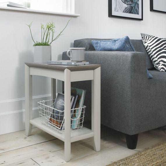 Bergen Grey Washed Oak & Soft Grey Side Table