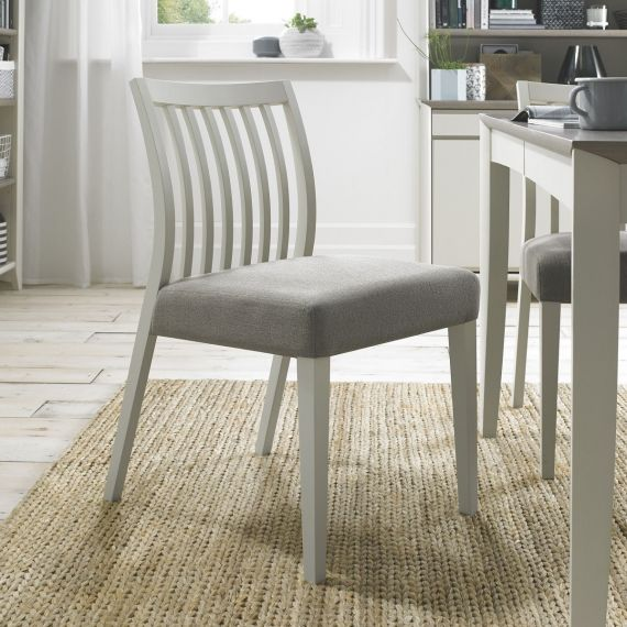 Bergen Soft Grey Low Slat Back Dining Chair - Titanium Fabric (Pair)
