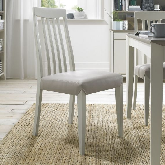 Bergen Soft Grey Slat Back Dining Chair - Grey Leather (Pair)