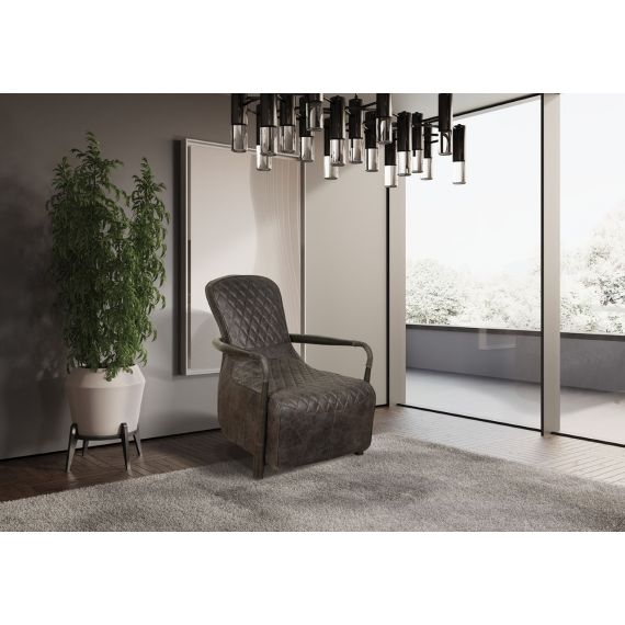 Broadway Snug Chair - Grey Aniline Leather