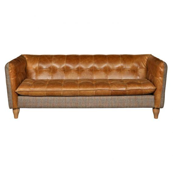 Brunswick 2 Seater Sofa - Brown Leather & Harris Tweed