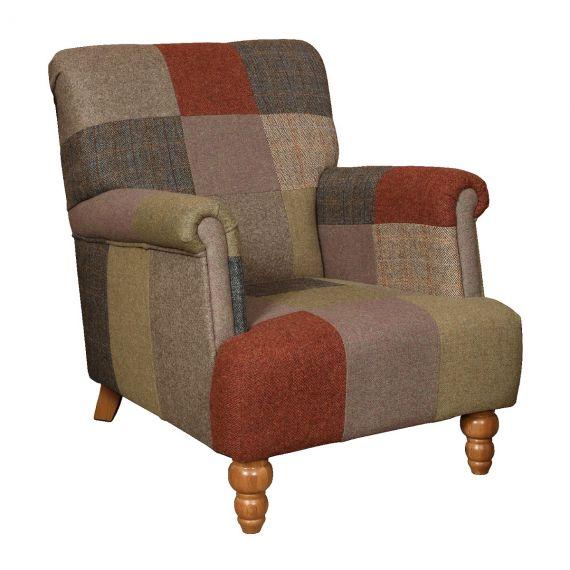 Burford Harlequin Armchair - Patchwork Harris Tweed Vintage Chair