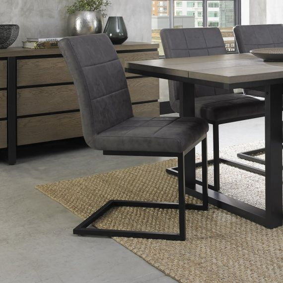 Cantilever Dining Chair - Distressed Dark Grey Fabric with Black Frame (Pair)