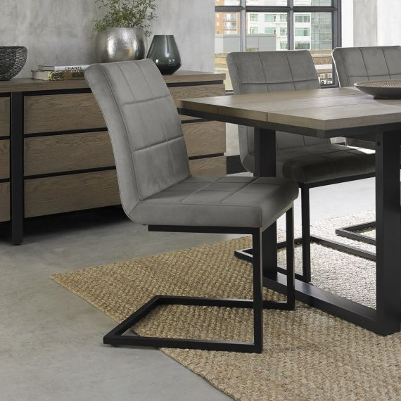 Cantilever Dining Chair - Grey Velvet Fabric with Black Frame (Pair)