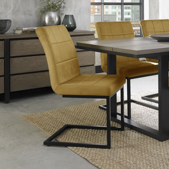 Cantilever Dining Chair - Mustard Velvet Fabric with Black Frame (Pair)