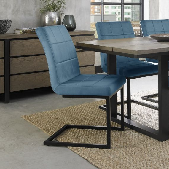 Cantilever Dining Chair - Petrol Blue Velvet Fabric with Black Frame (Pair)