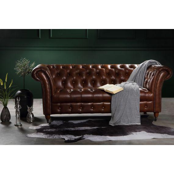 Chester 2 Seater Chesterfield Sofa - Oliato Tobacco Brown Leather