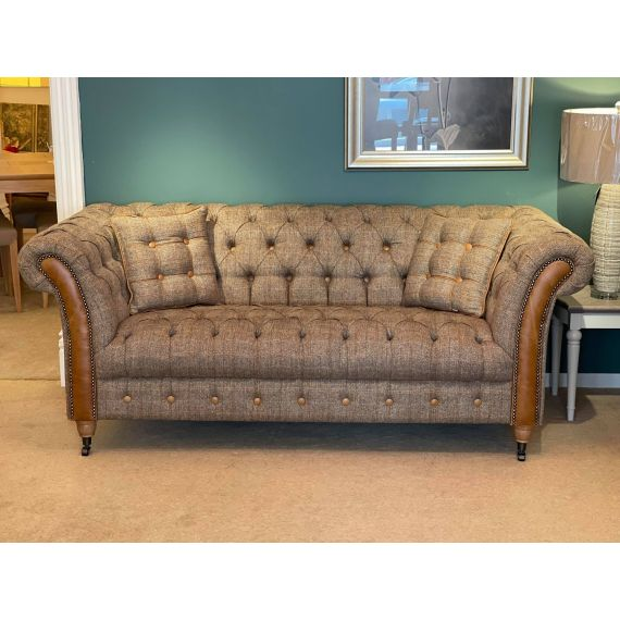 Chester Lodge 2 Seater Chesterfield Sofa - Hunting Lodge Harris Tweed & Brown Leather