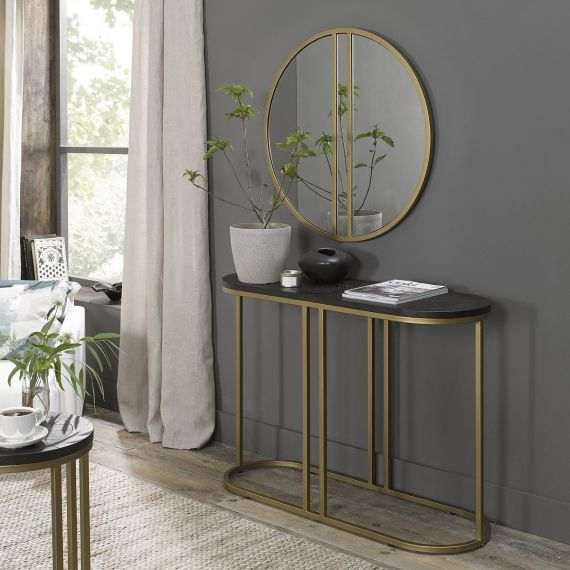 Chevron Peppercorn Ash Console Table