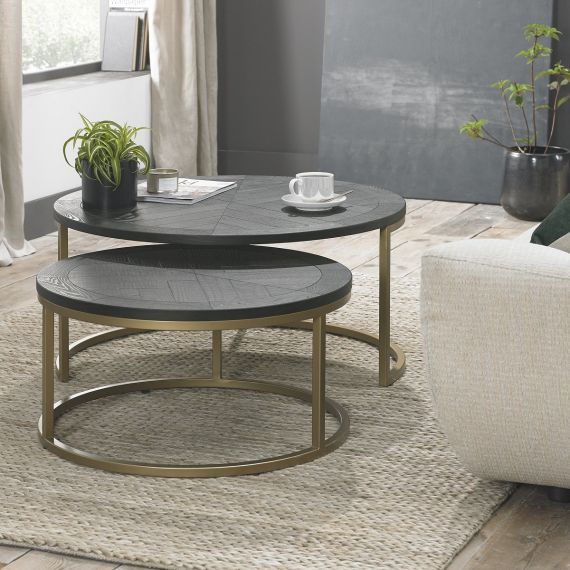 Chevron Peppercorn Ash Nest of Coffee Tables