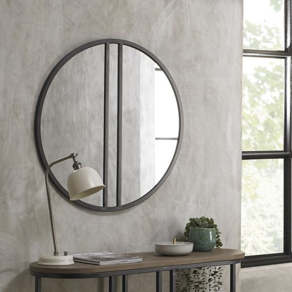 Chevron Weathered Ash Mirror Metal Frame