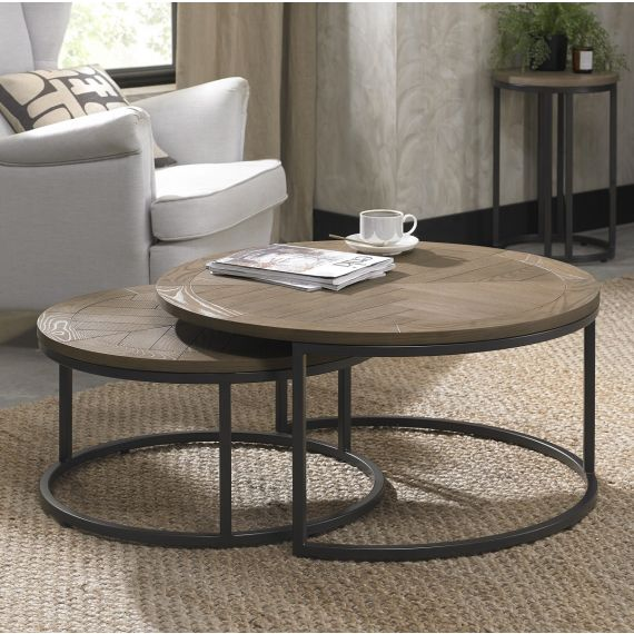 Chevron Weathered Ash Nest of Coffee Tables