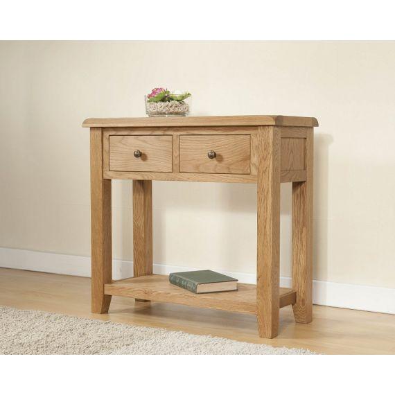 Cotswold Rustic Light Oak Large Console Table