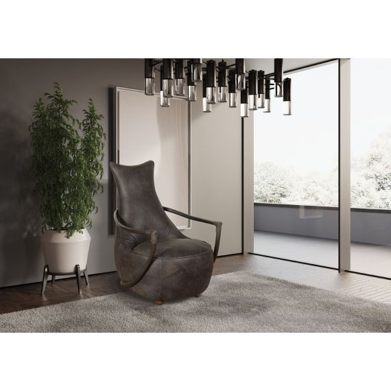 Dallas Retro Relax Chair - Grey Leather