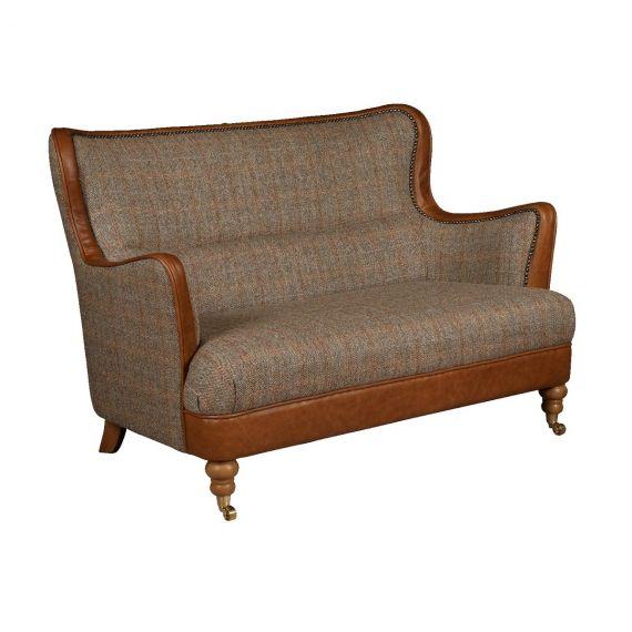 Ellis 2 Seater Sofa - Harris Tweed & Brown Leather