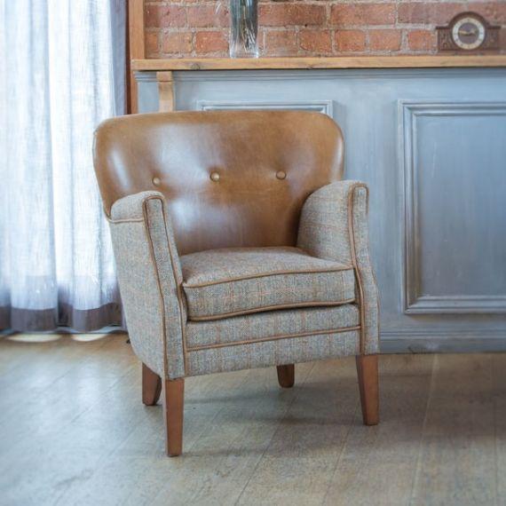 Elston Armchair - Hunting Lodge Harris Tweed & Brown Leather