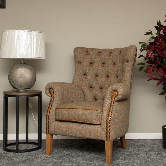 Hexham Armchair - Hunting Lodge Harris Tweed