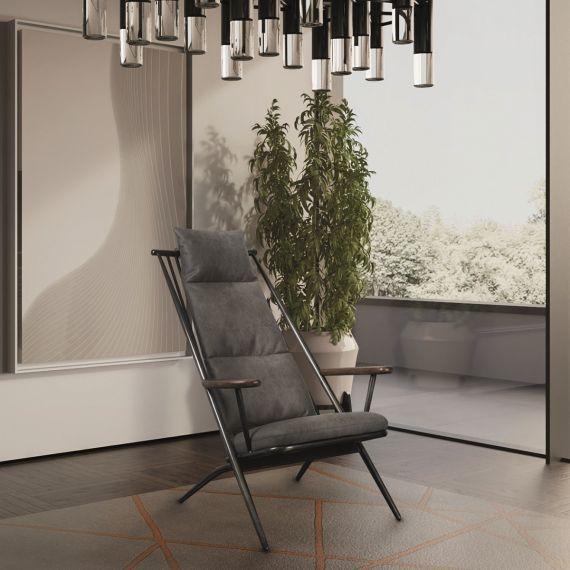 Heydon Grey Faux Leather Ely Studio Chair - Milan Steel