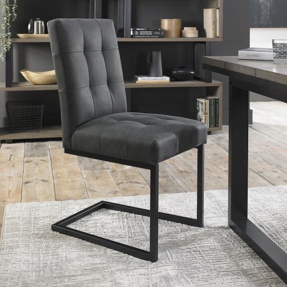 Indus Cantilever Dining Chair - Dark Grey Fabric (Pair)