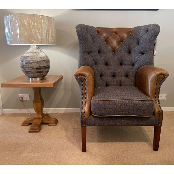 Kensington Armchair Moreland Harris Tweed and Italian Brown Leather - Vintage Sofa Company Fast Track