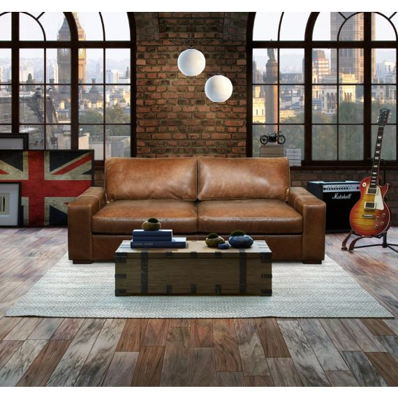 Maximus Cerato Brown Leather 3 Seater Sofa FT