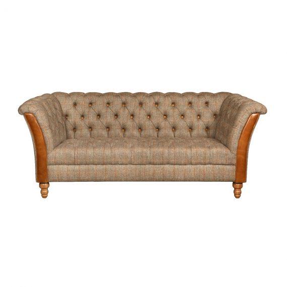 Milford 2 Seater Chesterfield Sofa - Hunting Lodge Harris Tweed