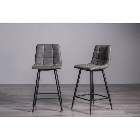 Mondrian Bar Stool - Dark Grey Faux Leather with Black Legs (Pair)