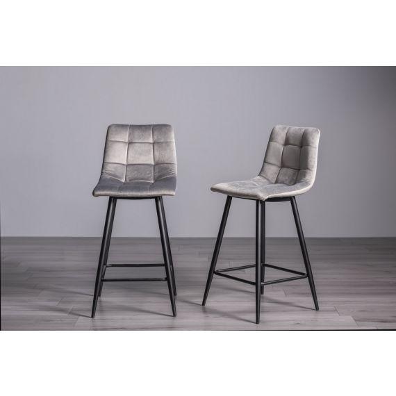 Mondrian Bar Stool - Grey Velvet Fabric with Black Legs (Pair)