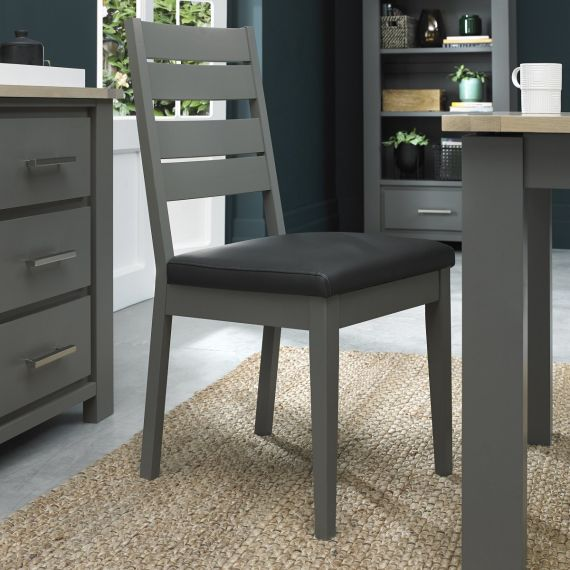 Oakham Dark Grey Dining Chair - Dark Grey Faux Leather (Pair)