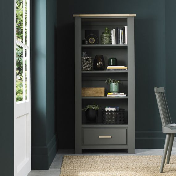 Oakham Dark Grey & Scandi Oak Bookcase with Drawer