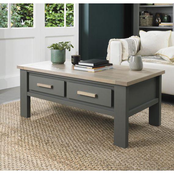 Oakham Dark Grey & Scandi Oak Coffee Table with Drawers