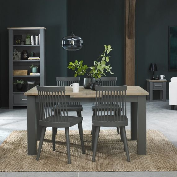 Oakham Dark Grey & Scandi Oak Extending Dining Table - 4-6 Seater