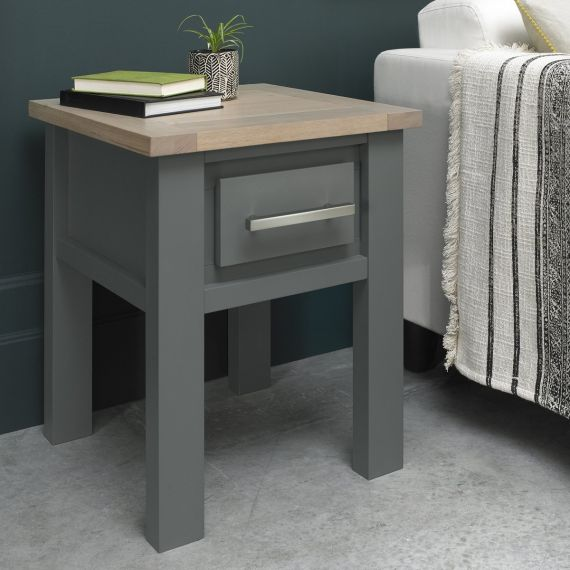 Oakham Dark Grey & Scandi Oak Lamp Table with Drawer