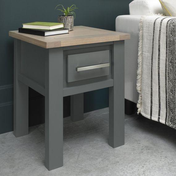 Oakham Dark Grey & Scandi Oak Lamp Table with Drawer