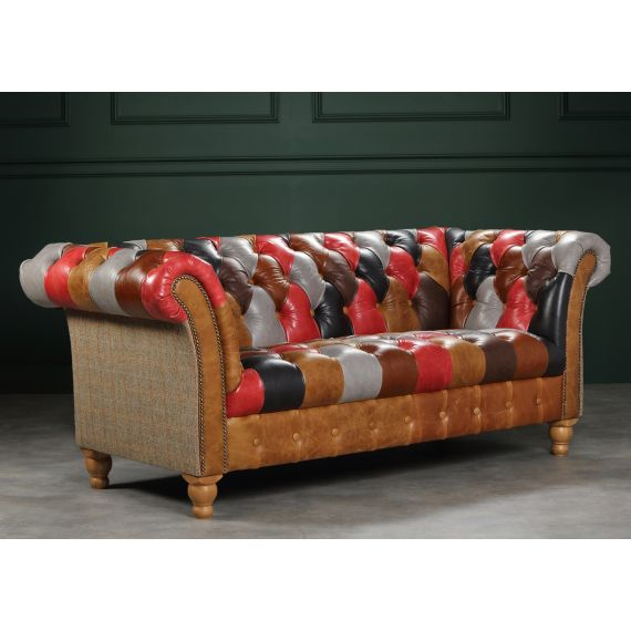 Presbury Leather Patchwork Chesterfield Sofa 2 Seater - Vintage Sofa