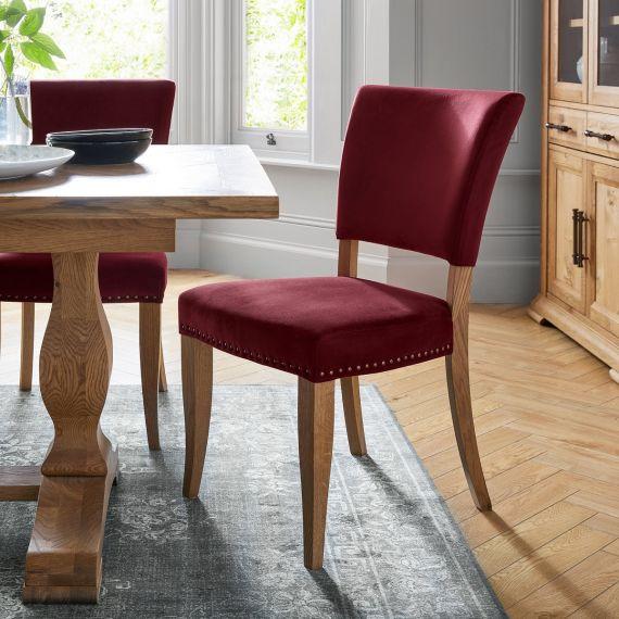 Rustic Oak Dining Chair - Crimson Velvet Fabric (Pair)