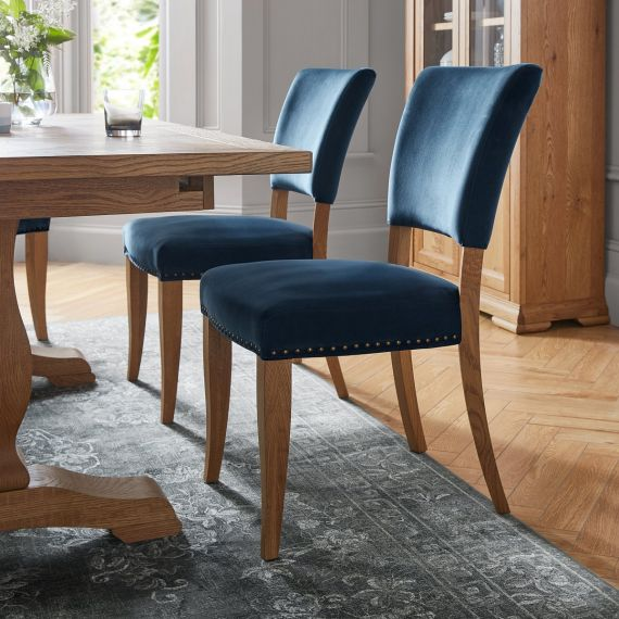 Rustic Oak Dining Chair - Dark Blue Velvet Fabric (Pair)