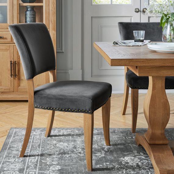 Rustic Oak Dining Chair - Gun Metal Velvet Fabric (Pair)