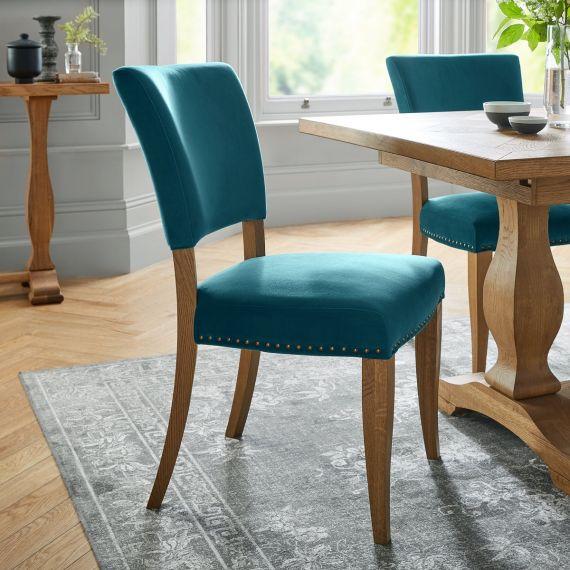 Rustic Oak Dining Chair - Sea Green Velvet Fabric (Pair)