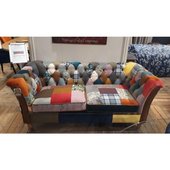 Rutland Harlequin Patchwork Chesterfield Sofa 2 Seater - Vintage Sofa