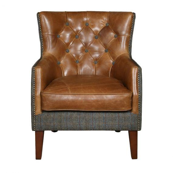 Stanford Armchair - Moreland Harris Tweed & Italian Brown Aniline Leather