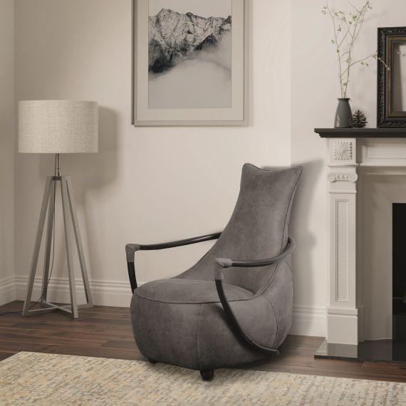 Sutton Retro Relax Armchair - Milan Steel Grey Faux Leather